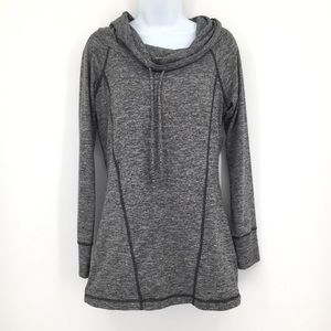 pink lotus grey athletic pullover top w/cowl neck